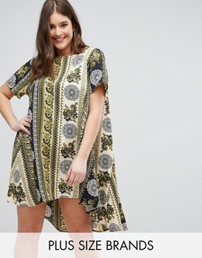 photo Border Print Swing Dress by AX Paris Plus, color Boho Border Print - Image 1