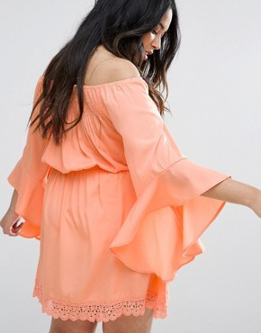 photo Flutter Sleeve Dress by AX Paris Plus, color Coral - Image 2
