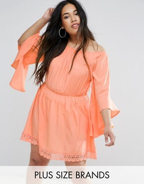 photo Flutter Sleeve Dress by AX Paris Plus, color Coral - Image 1