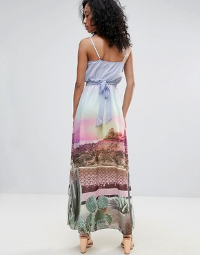 photo Scenic Print Maxi Dress with Tie Waist by Uttam Boutique, color Multi - Image 2