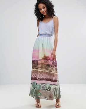 photo Scenic Print Maxi Dress with Tie Waist by Uttam Boutique, color Multi - Image 1