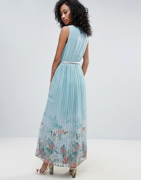 photo Scenic Print Pleated Maxi Dress by Uttam Boutique, color Blue - Image 2