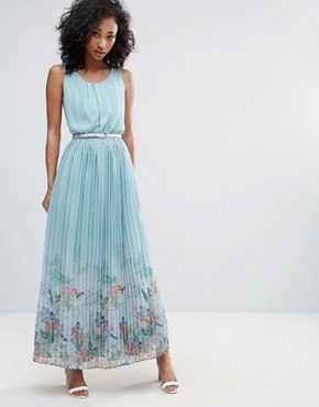 photo Scenic Print Pleated Maxi Dress by Uttam Boutique, color Blue - Image 1