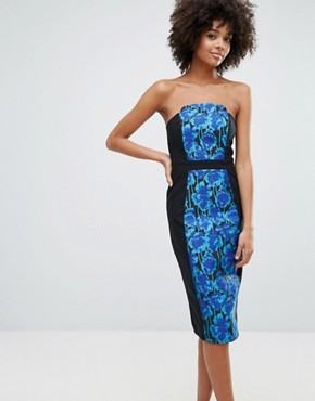 photo Jacquard Panel Bandeau Midi Dress by Little Mistress, color Jacquard - Image 1