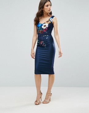 photo Floral Print Wiggle Dress by Little Mistress, color Navy - Image 1