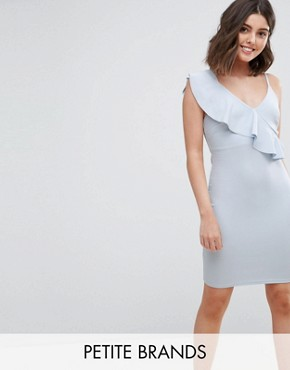 photo Frill Bodycon Dress by New Look Petite, color Pale Blue - Image 1