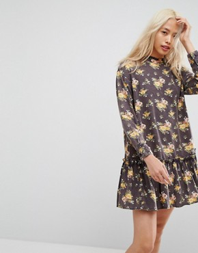 photo Washed Mini Dress with Ruffle Hem in Floral Print by ASOS, color Multi - Image 1