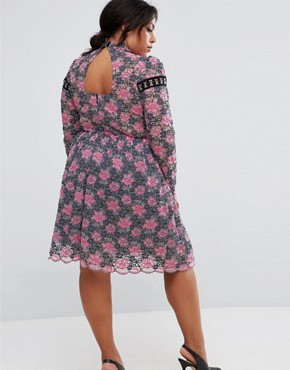 photo Lace Skater Dress with Hardware Detail by ASOS CURVE, color Multi - Image 2