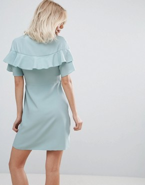 photo Mini Wrap Dress with Ruffle Sleeve by ASOS, color Mint - Image 2