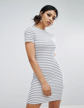 photo Bodycon T-Shirt Dress in Fine Stripe by Daisy Street, color White - Image 1