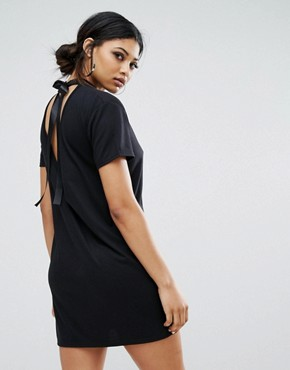 photo T-Shirt Dress with Tie Open Back by Daisy Street, color Black - Image 1