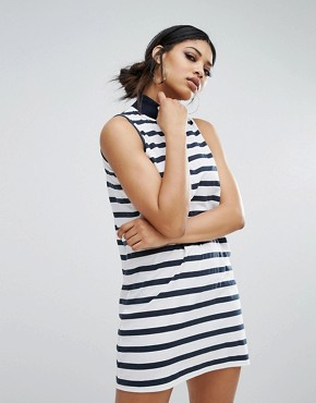 photo High Neck Swing Dress in Stripe by Daisy Street, color Navy/White - Image 1