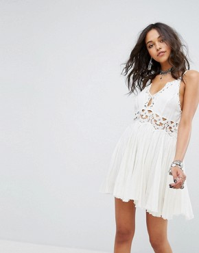 photo Ilektra Lace Cami Mini Dress by Free People, color White - Image 1