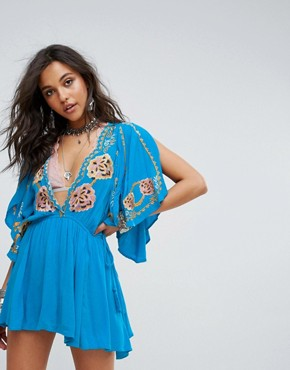 photo Cora Embroidered Dress by Free People, color Turquoise - Image 1