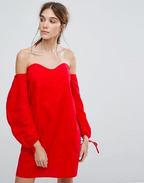 photo Off Shoulder Dress with Ruched Ribbon Sleeves by Neon Rose, color Red - Image 1