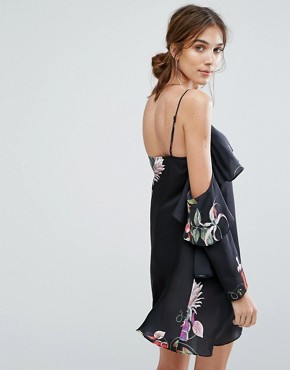 photo Cold Shoulder Cami Dress in Wildflower Print Co-Ord by Neon Rose, color Black - Image 2