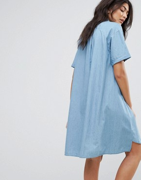 photo Denim Shirt Dress by Native Youth, color Mid Wash Denim - Image 2