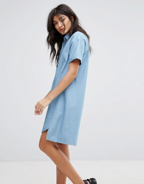 photo Denim Shirt Dress by Native Youth, color Mid Wash Denim - Image 1