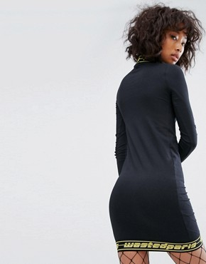 photo Bodycon Dress with High Neck and Tape Logo Trim by Wasted Paris, color Black - Image 2