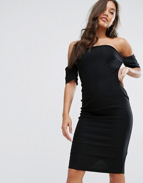 photo Curved Bandeau Pencil Dress with Button Detail by Vesper, color Black - Image 1