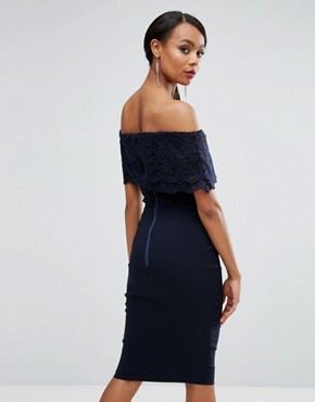 photo Bandeau Pencil Dress with Eyelash Lace Frill Overlay by Vesper, color Navy - Image 2