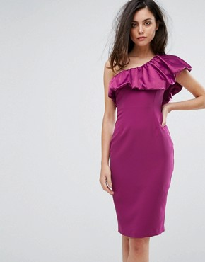 photo One Sleeve Pencil Dress with Satin Ruffle by Vesper, color Purple - Image 1