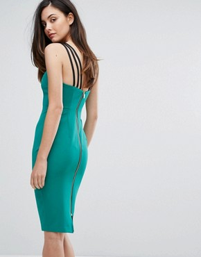photo Strap Detail Pencil Dress with Zip Back by Vesper, color Green - Image 2