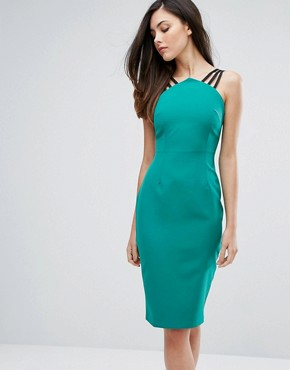 photo Strap Detail Pencil Dress with Zip Back by Vesper, color Green - Image 1