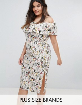 photo Cold Shoulder Midi Dress by Rage Plus, color Floral Print - Image 1