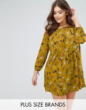 photo Floral Smock Dress with 3/4 Sleeve by Rage Plus, color Yellow Floral Print - Image 1