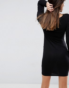 photo Ruched Mini Bodycon Dress with Long Sleeve by ASOS, color Black - Image 2