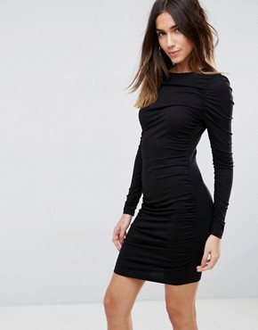 photo Ruched Mini Bodycon Dress with Long Sleeve by ASOS, color Black - Image 1