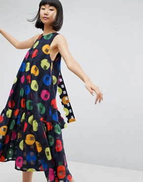 photo Trapeze Dress in Bright Spot Print by ASOS WHITE, color Multi - Image 1