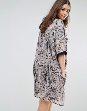 photo Animal Print Shirt Dress with Contrast Sleeve by Religion Plus, color Pink - Image 2