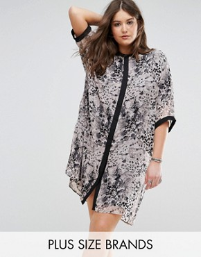 photo Animal Print Shirt Dress with Contrast Sleeve by Religion Plus, color Pink - Image 1