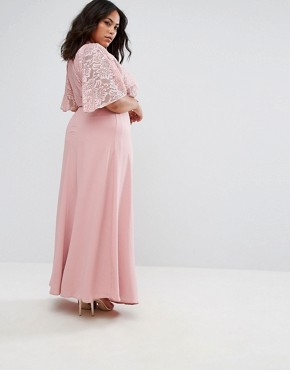 photo Maxi Dress with Fluted Lace Sleeve by John Zack Plus, color Pink - Image 2