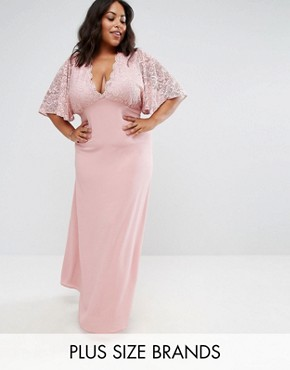 photo Maxi Dress with Fluted Lace Sleeve by John Zack Plus, color Pink - Image 1