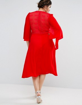 photo Lace Midi Dress with Cape Detail by John Zack Plus, color Red - Image 2