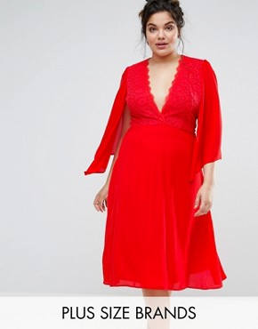photo Lace Midi Dress with Cape Detail by John Zack Plus, color Red - Image 1