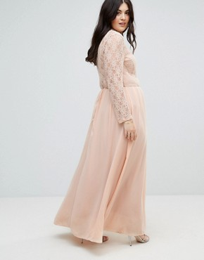 photo Lace Top Maxi Dress by John Zack Plus, color Pink - Image 2