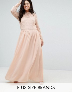 photo Lace Top Maxi Dress by John Zack Plus, color Pink - Image 1