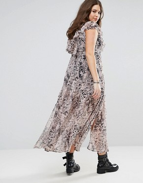 photo Ruffle Hem Maxi Dress in Allover Animal Print by Religion Plus, color Multi - Image 2