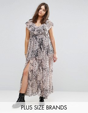 photo Ruffle Hem Maxi Dress in Allover Animal Print by Religion Plus, color Multi - Image 1