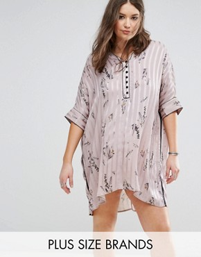 photo Stripe & Floral Longline Shirt Dress with Contrast Piping by Religion Plus, color Pink - Image 1