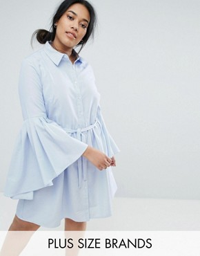photo Shirt Dress with Fluted Sleeves by Unique 21 Hero Plus, color Blue - Image 1
