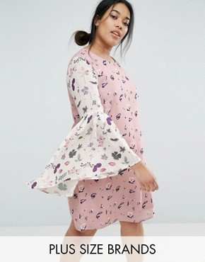 photo Printed Shift Dress with Fluted Sleeves by Unique 21 Hero Plus, color Multi - Image 1