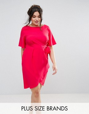 photo Wrap Front Dress by Closet London Plus, color Pink - Image 1
