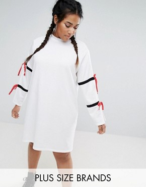 photo Split Sleeve Sporty Shift Dress by One One Three, color White - Image 1
