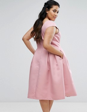 photo V-Neck Midi Dress with Cap Sleeve by Chi Chi London Plus, color Pink - Image 2