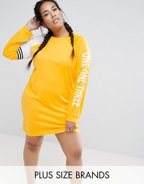 photo Track Dress with Logo Print Sleeve by One One Three, color Yellow - Image 1